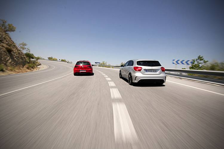 Volkswagen Golf R and Mercedes A45 AMG